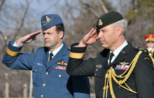 General Tom Lawson and Major-General Matern, the Commander of Canadian Defence Liaison Staff (Washington), salute during a wreath-laying ceremony held at Arlington National Cemetery near Washington, DC.