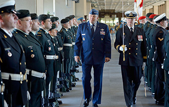 General Philip M. Breedlove, NATO's Supreme Allied Commander Europe (SACEUR), is greeted by a Guard of Honour arrival on May 6 2014 together with General Tom Lawson, Chief of the Defence Staff of the Canadian Armed Forces, upon his arrival at National Defence Headquarters in Ottawa, Ontario. As one of NATO's founding members, Canada has been, and remains, a leader in the NATO Alliance.