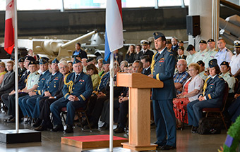 General Tom Lawson, Chief of the Defence Staff speaks to the National Capital Region Nijmegen Team during the farewell ceremonies at the Canadian War Museum in Ottawa, Ontario on July 7, 2014.