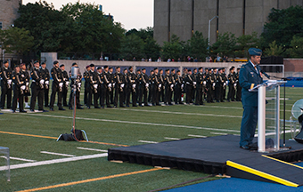 General Tom Lawson, Chief of the Defence Staff, addresses the audience at the commemoration event marking the centennial of the beginning of the First World War held at Varsity Stadium in Toronto, Ontario, on July 31, 2014.