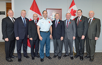General Tom Lawson, Chief of the Defence Staff, hosts a meeting with his predecessors on November 4th, 2013, at his office at National Defence Headquarters in Ottawa.  Pictured from left to right are: Gen W.J. Natynczyk (Ret'd), Gen R.J. Hillier (Ret'd), Gen R.R. Henault (Ret'd), Gen T.J. Lawson, Gen J.M.G. Baril (Ret'd), VAdm L.E. Murray (Ret'd), Adm J.R. Anderson (Ret'd) and Gen P.D. Manson (Ret'd).  Photo by: Master Corporal Matthew Ufholz