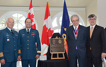(From left to right) Major-General (ret'd) Pierre Morisset, History and Heritage Advisory Committee, Royal College of Physicians and Surgeons of Canada (RCPSC), General Tom Lawson, Chief of the Defence Staff, Dr. Cecil Rorabeck, President, RCPSC and Dr. Andrew Padmos, Chief Executive Officer, RCPSC, are present for the unveiling of a plaque in Ottawa, Ontario on May 14, 2014 to honour the Fellows of the RCPSC who serve, or have served, in the Canadian Armed Forces.