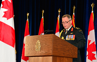 The new Chief of the Defence Staff, General Jonathan Vance, addresses the guests during the ceremony for the Change of Command of the Canadian Armed Forces, on July 17, 2015 in Ottawa, Ontario. Photo: Cpl Brett White-Finkle, Canadian Forces Combat Camera IS20-2015-0001-002