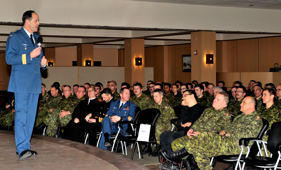The CDS conducted a town hall at the home of 3rd Canadian Division Support Base.