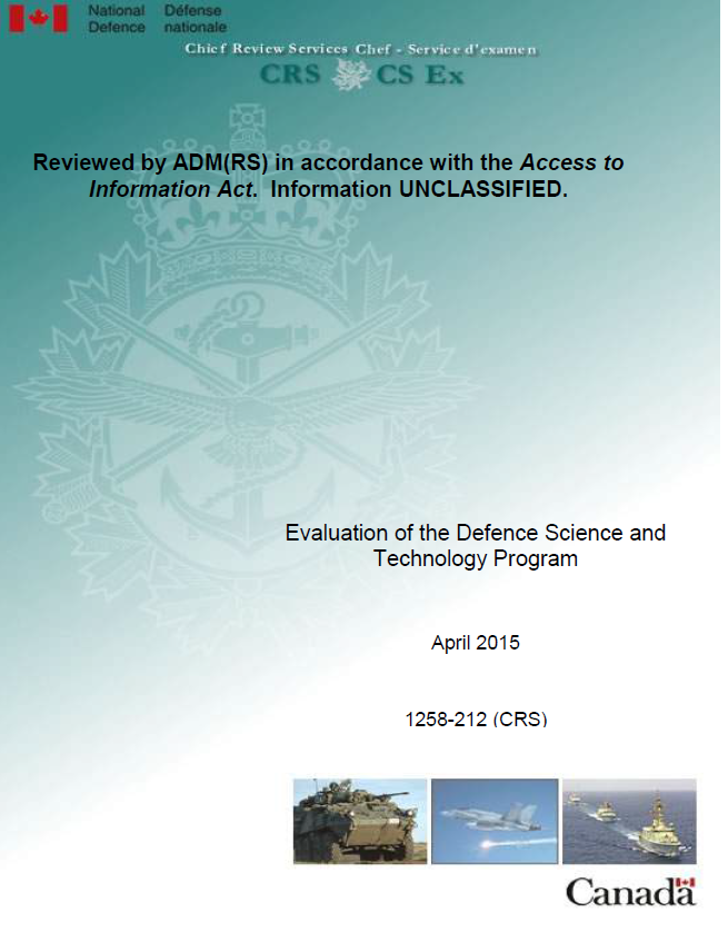 Evaluation Of The Defence Science And Technology Program