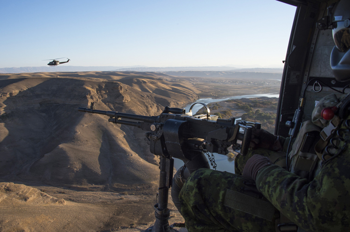 Two CH-146 Griffon helicopters conduct air mission during Operation IMPACT in Northern Iraq