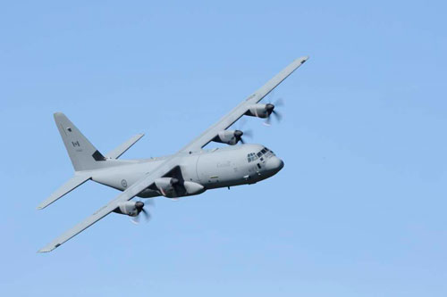 Trenton, Ontario — On October 6, 2011, a CC-130J Hercules tail number 130612, doing fly bys, landings and take offs during Ex MOUNTAIN STAR.