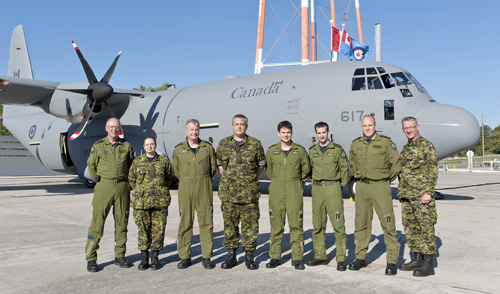 The Royal Canadian Air Force crew before boarding the CC-130J Hercules at the Lockheed Martin facility in Marietta, Georgia.