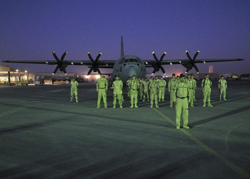 Members of 436 Squadron say farewell at Kandahar Airfield, Afghanistan, prior to the last in-theatre CC-130J flight, November 2011.