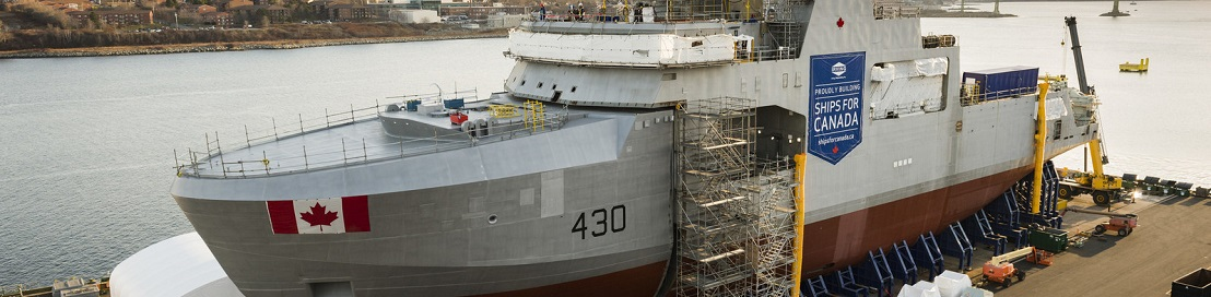 The future HMCS Harry DeWolf's third and final mega-block was joined to the first two mega-blocks to form the complete vessel