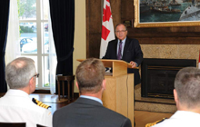The Honourable Bernard Valcourt announces a contract to DRS Technologies Canada Ltd. for an advanced wireless radio communications network for the Halifax-class frigates.