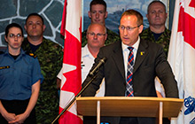 The Honourable Peter MacKay, Minister of Justice and Attorney General of Canada, announces a $18.5 million contract to Saab Microwave Canada Ltd. in Halifax on July 3, 2014 for overhaul of radars on the frigates.
