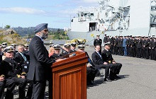 The Honourable Harjit S. Sajjan, Minister of National Defence, announces the completion of the refit portion of HMCS Regina as part of the Halifax-class Modernization/ Frigate Life Extension project in Esquimalt on April 29, 2016. HMCS Regina is the fifth and final frigate on the West Coast to complete its modernization.