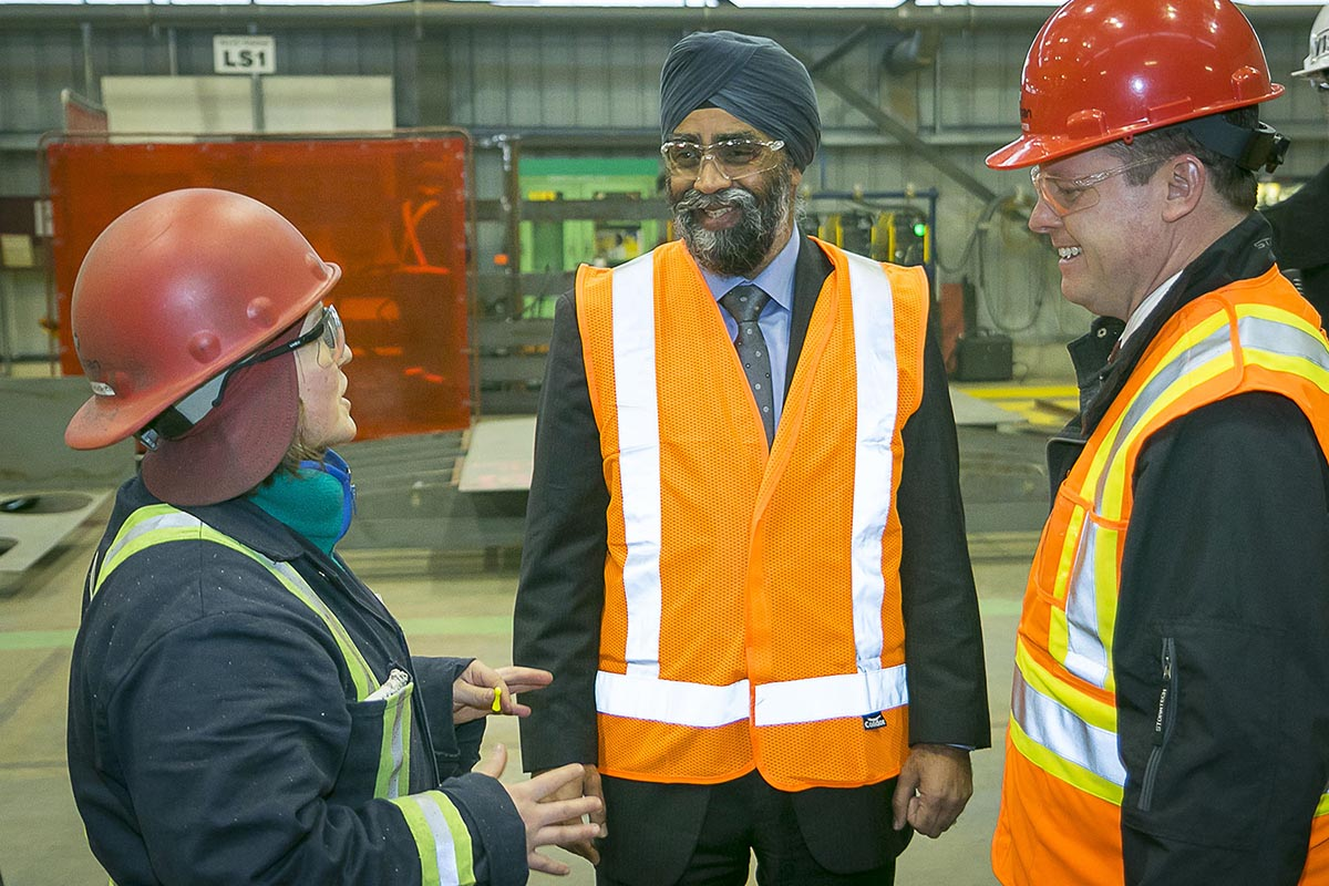 Minister of National Defence, Harjit Sajjan toured the Seaspan Vancouver Shipyard - the future birthplace of the Royal Canadian Navy's Joint Support Ships