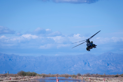 The new CH-147F Canadian Chinook continues to progress through flight test at Boeing's Mesa, Arizona test facility.
