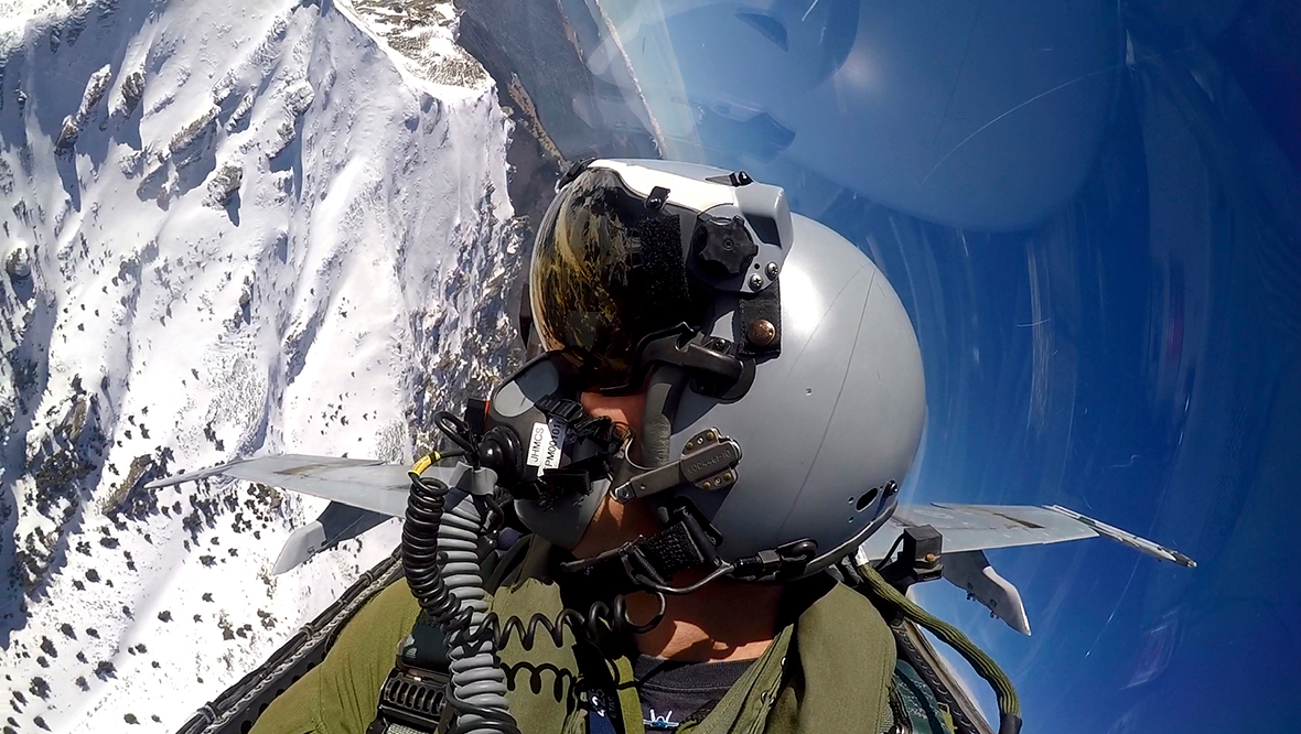 Captain Andrew Jakubaitis, CF-18 Hornet pilot from Air Task Force-Romania, flies over the Transylvanian Alps during a mission in Romania during Exercise Resilient Resolve on April 1, 2016. Photo: Captain Andrew Jakubaitis BN03-2016-0125-083