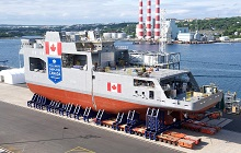 Two mega-blocks of the future HMCS Harry DeWolf were moved to the Halifax Shipyard's exterior land-level construction point in July 2017.