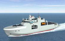 Artist rendering of the definition design for Arctic/Offshore Patrol Ships - View forward port side at sea.