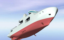 Artist rendering of the definition design for Arctic/Offshore Patrol Ships - View forward starboard side under,