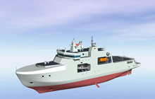 Artist rendering of the definition design for Arctic/Offshore Patrol Ships - View forward port side.