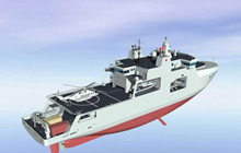 Artist rendering of the definition design for Arctic/Offshore Patrol Ships - View aft starboard side.
