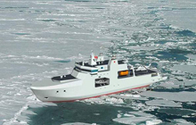 Artist rendering of the definition design for Arctic/Offshore Patrol Ships - View aft port side in ice.