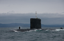 HMCS Victoria transits in the vicinity of Esquimalt during sea training trials and exercises on February 20, 2012.