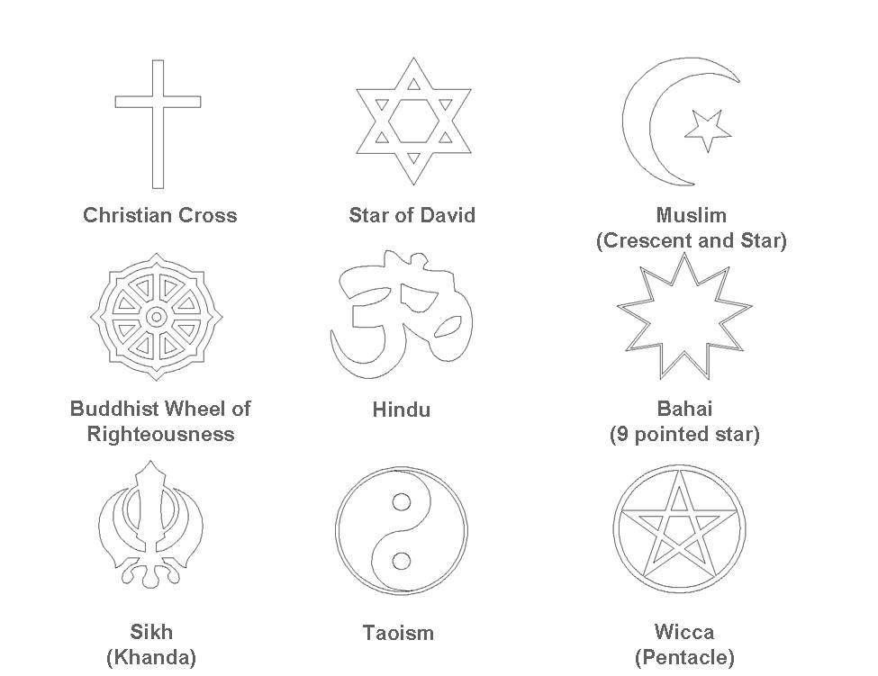 A series of headstone religious emblems.