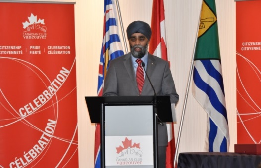 The Minister of National Defence, Harjit Sajjan, remembers his friend Patrick Reid before an audience at the Canadian Club, Vancouver chapter, February 15. Photo: Capt Jeff Manney