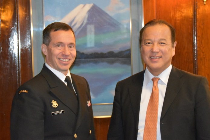 RAdmiral Gilles Couturier, commander of Canada's Navy on the West Coast, dined with Seiji Okada, Japan's Consul General in Vancouver, February 19, 2016. Photo: Capt Jeff Manney