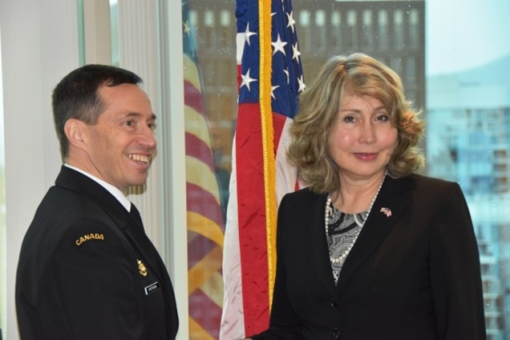 RAdmiral Couturier and U.S. Consul General Lynne Platt discussed a variety of topics, including their experiences serving in Iraq, during a visit to the Consul General's office in Vancouver February 19, 2016. Photo: Capt Jeff Manney