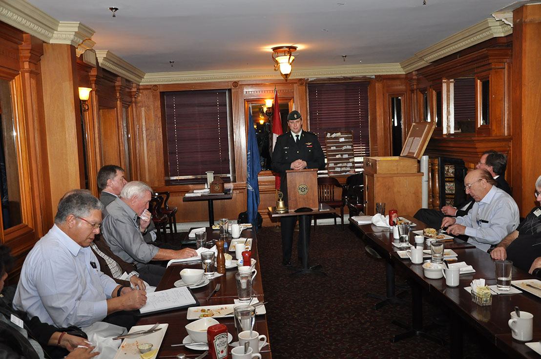 Maj Ian Miedema shares career highlights with members of Rotary Club of North Scarborough, Ontario on March 9. Photo: Capt John-Hugh MacDonald
