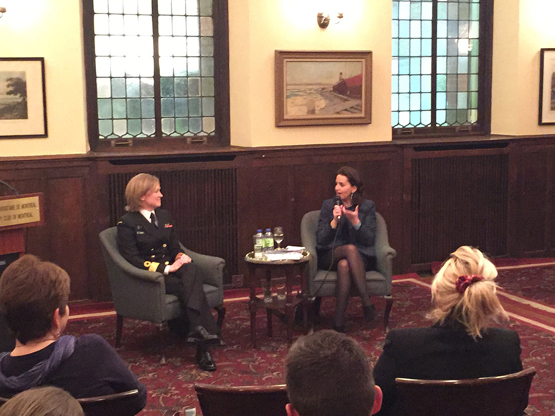 Cmdre Marta Mulkins, Commander of the Naval Reserve, being interviewed by La Gouvernance au féminin founder Caroline Codsi at the University Club of Montreal on March 9.