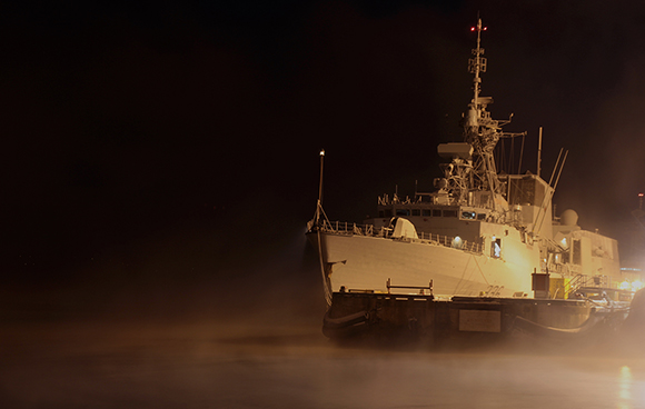 Her Majesty's Canadian Ship Montreal sits at the dockyard in Halifax, Nova Scotia during the early morning hours on January 14, 2015. Photo: John Clevett, Formation Imaging Services