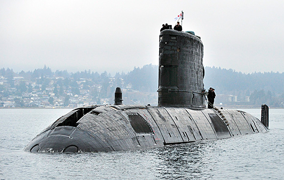 Her Majesty's Canadian Ship (HMCS) VICTORIA returns home through the Straits of Juan De Fuca, from operations with the United States Navy (USN) on February 26, 2015. Photo: LS Zachariah Stopa, MARPAC Imaging Services
