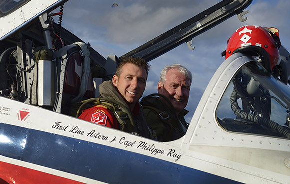 Canadian Ambassador to Ireland and former Sergeant at Arms, Kevin Vickers (right) alongside his pilot, Captain Phil Roy, take a moment before the Royal Canadian Air Force Snowbirds demonstration team takes flight for the Canada Day show in Ottawa on July 1, 2015. Photo: Corporal Vicky Lefrancois, D Air PA FA01-2015-0004-05