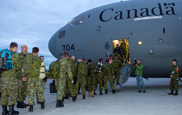 Canadian Armed Forces (CAF) Disaster Assistance Response Team (DART) depart from CFB Trenton, Ontario on April 26, 2015 to help the earthquake victims in Nepal. Photo: Corporal Dan Strohan, 8 Wing Imaging TN09-2015-0282-014 ©2015 DND-MDNCanada