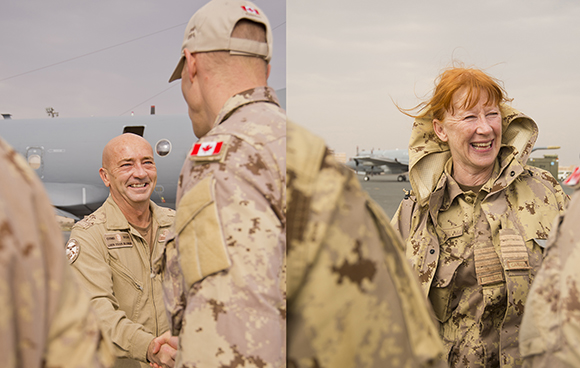 Lieutenant-General Yvan Blondin, Commander of the Royal Canadian Air Force visited the soldiers, sailors and aviators deployed with Operation IMPACT, Kuwait from December 20 to 21, 2014. Lt.-Gen. Blondin was accompanied by five Honorary Colonels including the RCAF Honorary Colonel, Col Loreena McKennit; Col Stanley Schwartz, 409 Sqn, 4 Wing, Cold Lake; Col Kevin Weaver, 2 MP Sqn, 8 Wing, Trenton; Col Bert Campbell, 405 Sqn 14 Wing, Greenwood and Col James Killin, 425 Sqn, 3Wing, Bagotville. The RCAF Commander brought best wishes for the holiday season and met with personnel currently maintaining air operations over Iraq.  Operation IMPACT is the Canadian Armed Forces' (CAF) support to the Middle East Stabilization Force (MESF) – the multinational coalition against the Islamic State of Iraq and the Levant (ISIL) in the Republic of Iraq.  Photos: Op Impact, DND, GX2014-0073-747,GX2014-0073-718