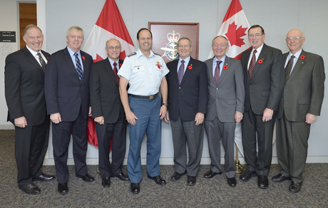 General Tom Lawson, Chief of the Defence Staff, hosts a meeting with his predecessors at his office at National Defence Headquarters in Ottawa. Pictured from left to right are: Gen W.J. Natynczyk (Ret'd), Gen R.J. Hillier (Ret'd), Gen R.R. Henault (Ret'd), Gen T.J. Lawson, Gen J.M.G. Baril (Ret'd), VAdm L.E. Murray (Ret'd), Adm J.R. Anderson (Ret'd) and Gen P.D. Manson (Ret'd). Photo by: Master Corporal Matthew Ufholz