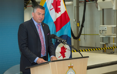 On July 21 2014, James Bezan, Parliamentary Secretary for the Minister of National Defence and Member of Parliament announced a significant investment to enhance the CC130J Hercules training environment at Canadian Forces Base Trenton. Photo: Cpl Levarre McDonald
