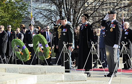 Her Royal Highness The Princess Royal (centre) and His Excellency the Right Honourable David Johnston, Governor General of Canada (left) lay wreaths during the Remembrance Day Ceremony held at the National War Memorial in Ottawa Ontario on November 11, 2014. Photo credit: Cpl Mathieu St-AmourCanadian Forces Support Unit (Ottawa) - Imaging Services SU2014-0794-35