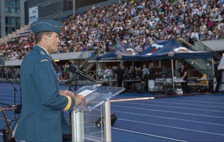 General Tom Lawson, Chief of the Defence Staff, addresses the audience at the commemoration event marking the centennial of the beginning of the First World War held at Varsity Stadium in Toronto, Ontario, on July 31, 2014. Photo by: MCpl Dan Pop, 4 Cdn Div Public Affairs