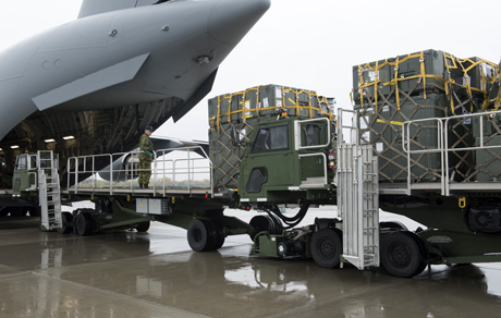 A CC-177 Globemaster aircraft is loaded with vital supplies for Operation IMPACT at 8 Wing Canadian Forces Base Trenton on October 15, 2014. Photo: Cpl Rod Doucet, 8 Wing Imaging