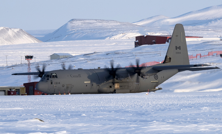 In the month of April 2016, military personnel from RCAF units across Canada travelled to the top of the world to resupply Canada's most northerly post through Operation BOXTOP. Op BOXTOP is carried out twice per year to airlift dry/non-perishable goods, construction materials, support equipment, fuel and miscellaneous cargo from Thule Airbase, Greenland, to Canadian Forces Station (CFS) Alert. Photo by Cpl Rod Doucet, 8 Wing Imaging