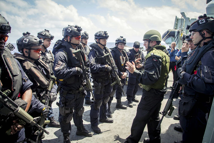 HMCS VANCOUVER's naval boarding party receives direction during a training serial while on route to Joint Base Pearl Harbor-Hickam, Hawaii during RIMPAC 16 on June 24, 2016. Photo: LS Sergej Krivenko, HMCS Calgary UR01-2016-0708-002