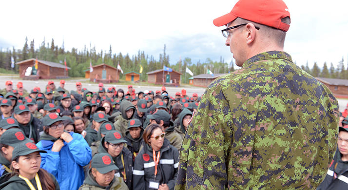 Major Craig Volstad, Commanding Officer, 1 Canadian Ranger Patrol Group, gives the welcoming address to more than 275 Junior Rangers and Canadian Rangers who are participating in the Enhanced Training Session in Whitehorse, Yukon from June 16 - 30. This will be largest Junior Ranger Course the Canadian Armed Forces have ever held.