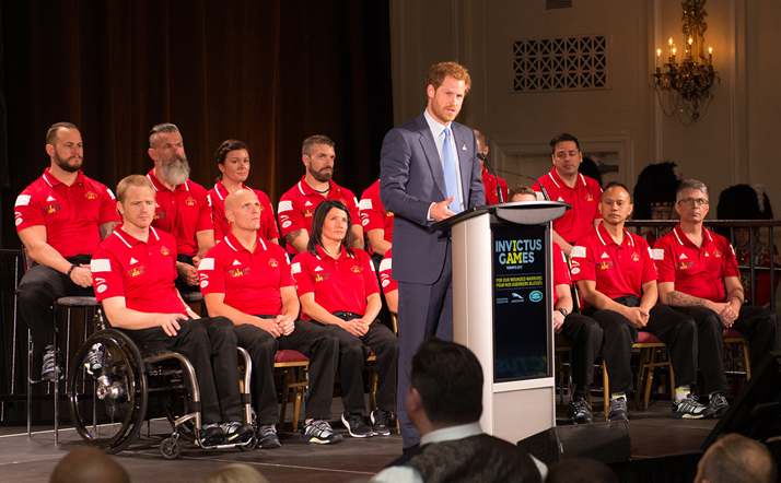 His Royal Highness Prince Harry discusses the importance of the 2016 Invictus Games on May 2, 2016 at the Fairmont Royal York Hotel, during the announcement that Toronto will host the 2017 Invictus Games.  Photo: Master Corporal Precious Carandang, 4th Canadian Division Public Affairs LX01-2016-0029-011