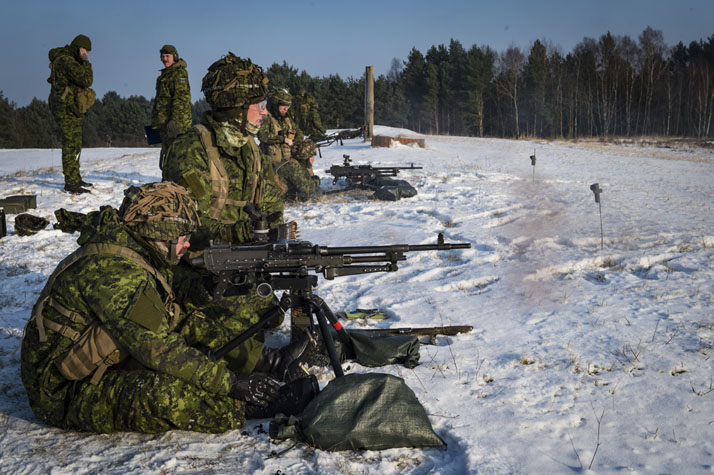 Members from 1 Platoon, Alpha Company (A Coy),  1 Princess Patricia's Canadian Light Infantry (1 PPCLI) fire a sustainable firing kit (General Purpose Machine Gun (GPMG)) during a range day in Drawsko Pomorskie Training Area, Poland on January 10, 2017. Photo: Cpl Jay Ekin, Operation REASSURANCE Land Task Force Imagery Technician RP006-2017-0001-002