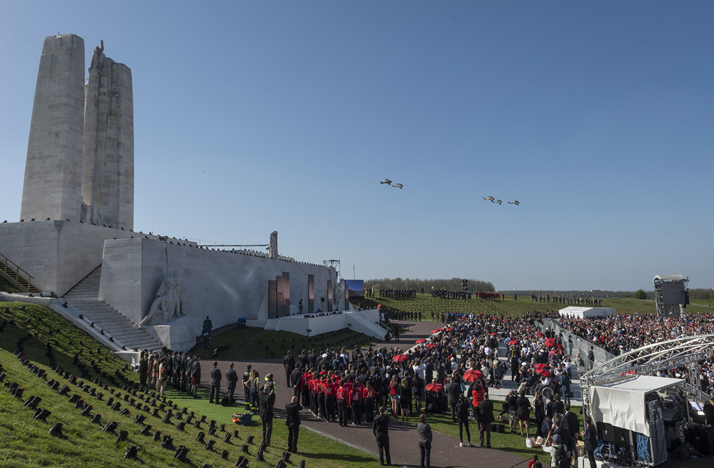Five replica aircraft from Vimy Flight fly past the Canadian National Vimy Memorial during the signature ceremony to mark the 100th anniversary of the Battle of Vimy Ridge in Vimy, France on April 9, 2017. Photo: Canadian Forces Combat Camera 