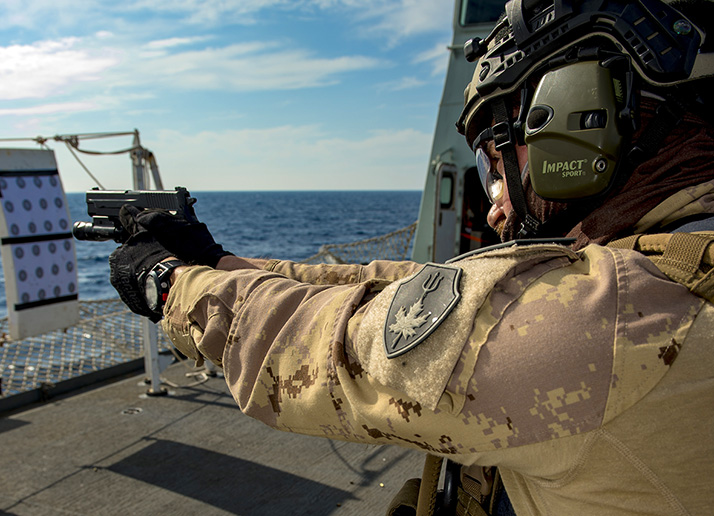The Maritime Tactical Operations Group (MTOG) conducts small arms training aboard Her Majesty's Canadian Ship CHARLLOTETOWN during Operation REASSURANCE, October 3, 2017. Photo: Corporal J.W.S. Houck, Formation Imaging Services RP11-2017-0822-2252
